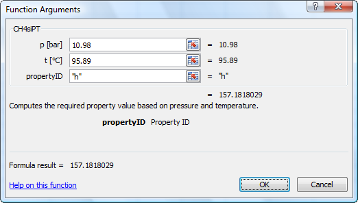 Calculate CH4Tables properties