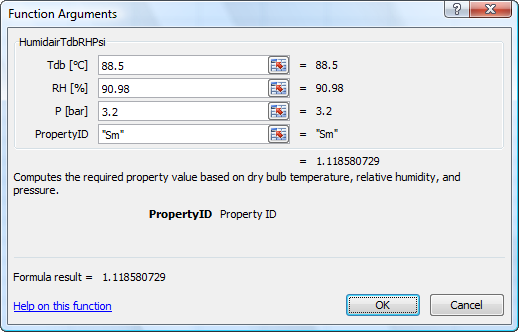 Calculate HumidAir properties
