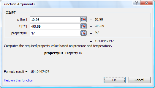 Calculate O2Tables properties