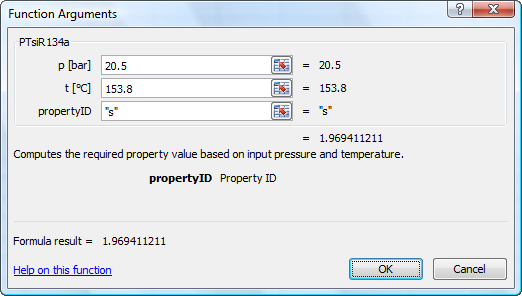 Calculate R134aTables properties