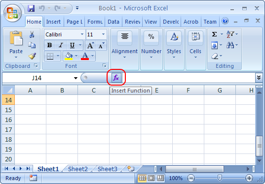 Insert Function toolbar button